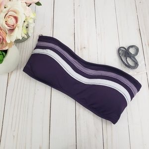 Mossimo Purple Striped Bandeau Bikini Top
